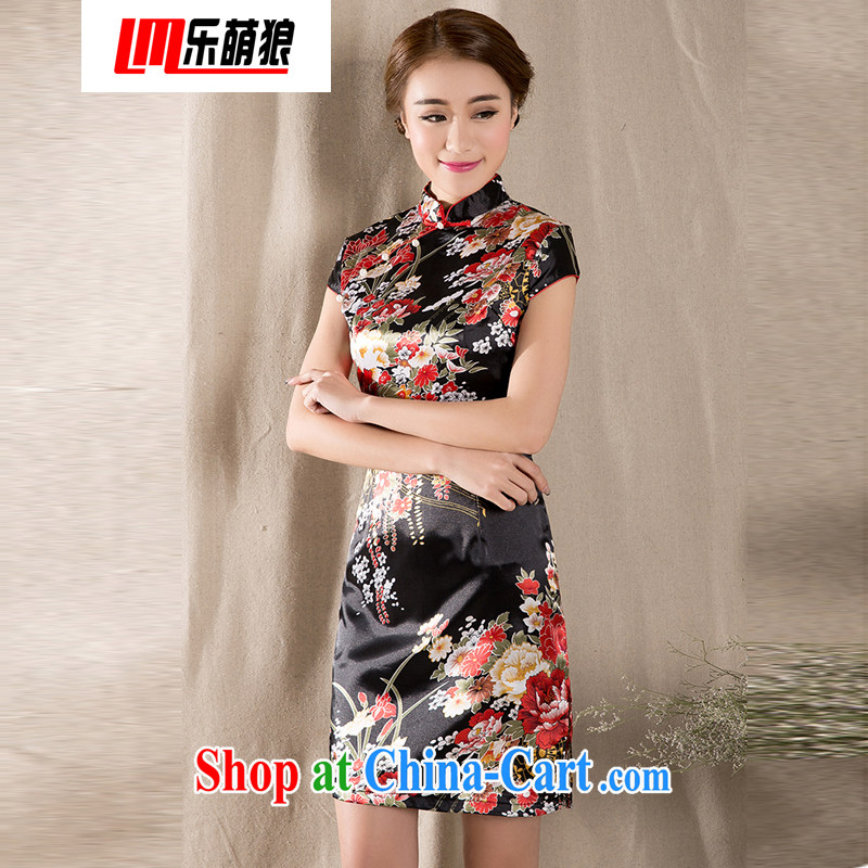american economic Wolf 2015 new spring and summer with a short-sleeved Chinese improved cheongsam Chinese wind women dress suit XXL