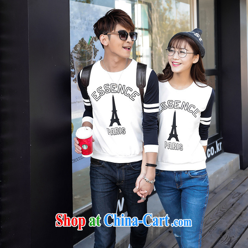 Ya-ting store spring 2015 new couples with long-sleeved T-shirt Han version with streaks students men and women serving in royal blue XXL