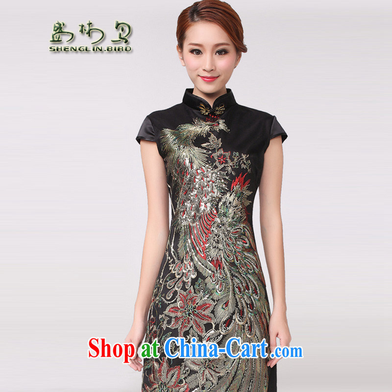 New National wind embroidery beauty short-sleeved qipao sung lim bird 2015 delivery package mail black XL
