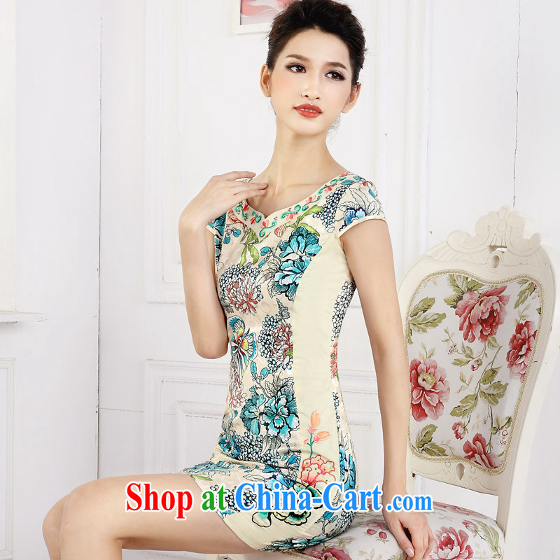 America in 2015 spring new short cheongsam dress girls retro stamp improved embroidery flower girl dresses LYE 66,610 green XXL