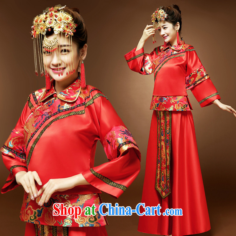A good service is spring loaded Chinese marriage Sau kimono dress Chinese brides married clothing qipao dress uniform toast Sau Wo service red 2 XL
