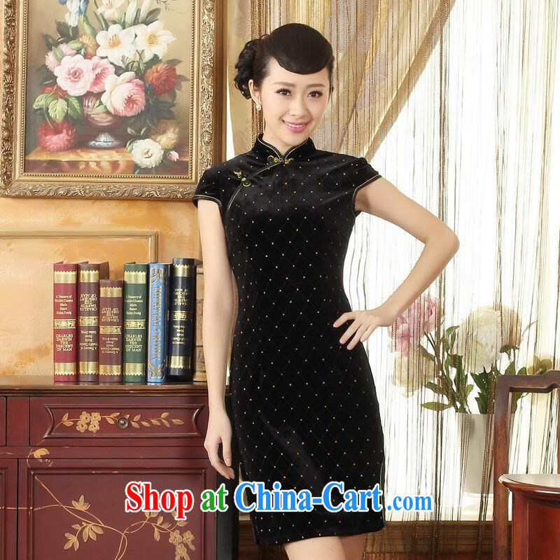 An Jing, Ms. Tang cheongsam dress with dress stretch the wool stylish classic short-sleeved short cheongsam black 2 XL