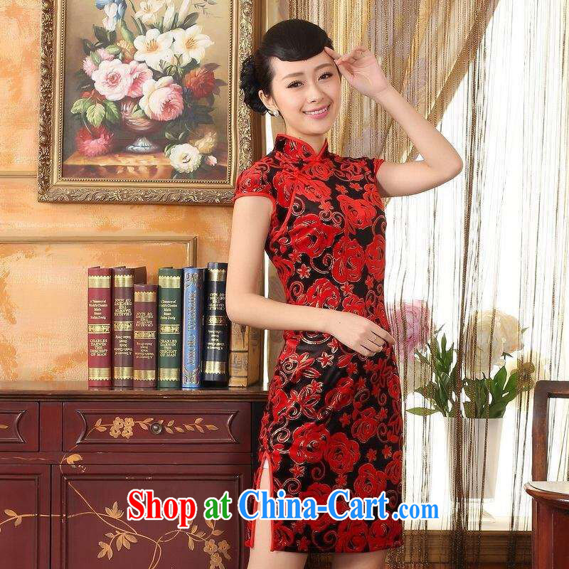 An Jing, Ms. Tang cheongsam dress with dress stretch the wool stylish classic short-sleeved short cheongsam red 2 XL