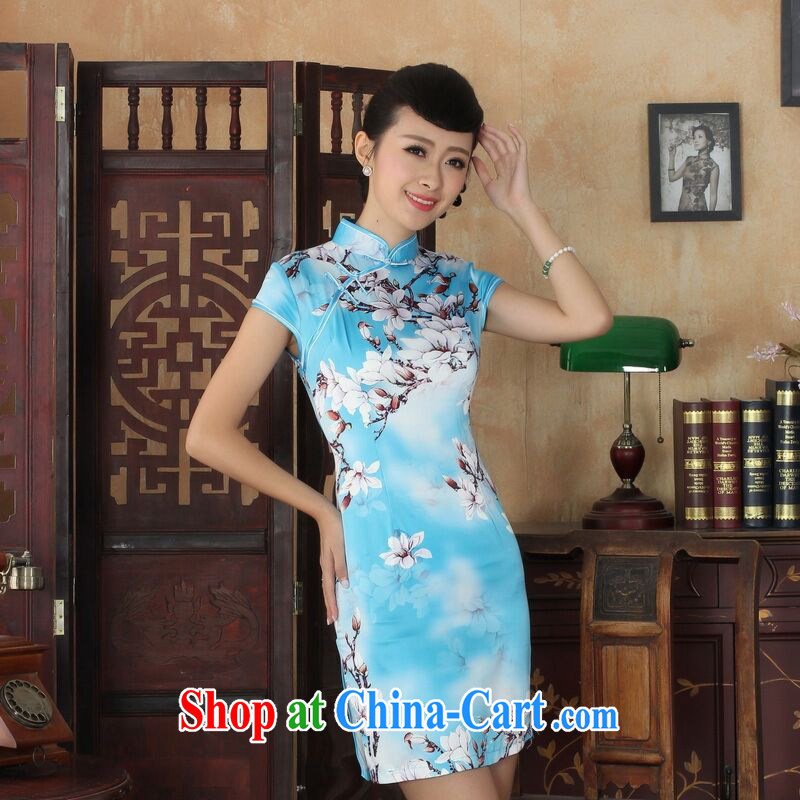 Allow Ms. Jing cheongsam Chinese dresses new summer elegance Chinese qipao Chinese graphics thin short cheongsam blue 2 XL