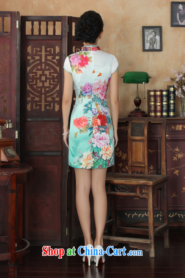 Allow Ms. Jing cheongsam Chinese dresses new summer elegance Chinese cheongsam peony flower short cheongsam picture color XL pictures, price, brand platters! Elections are good character, the national distribution, so why buy now enjoy more preferential! Health