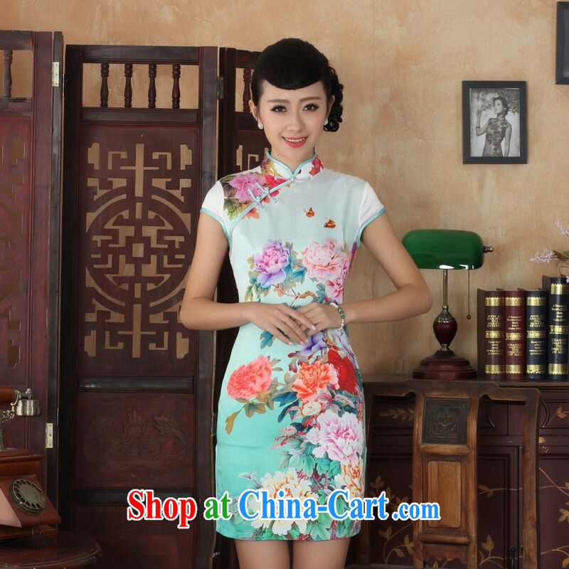 Allow Ms. Jing cheongsam Chinese dresses new summer elegance Chinese cheongsam peony flower short cheongsam picture color XL