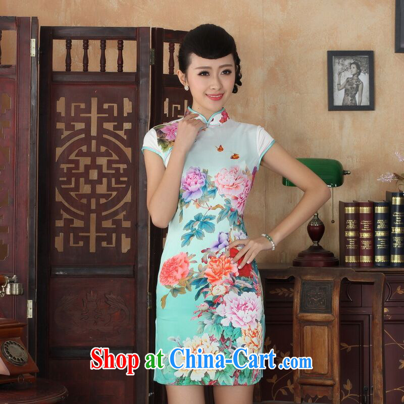 Allow Ms. Jing cheongsam Chinese dresses new summer elegance Chinese cheongsam peony flower short cheongsam picture color XL, an Jing, shopping on the Internet