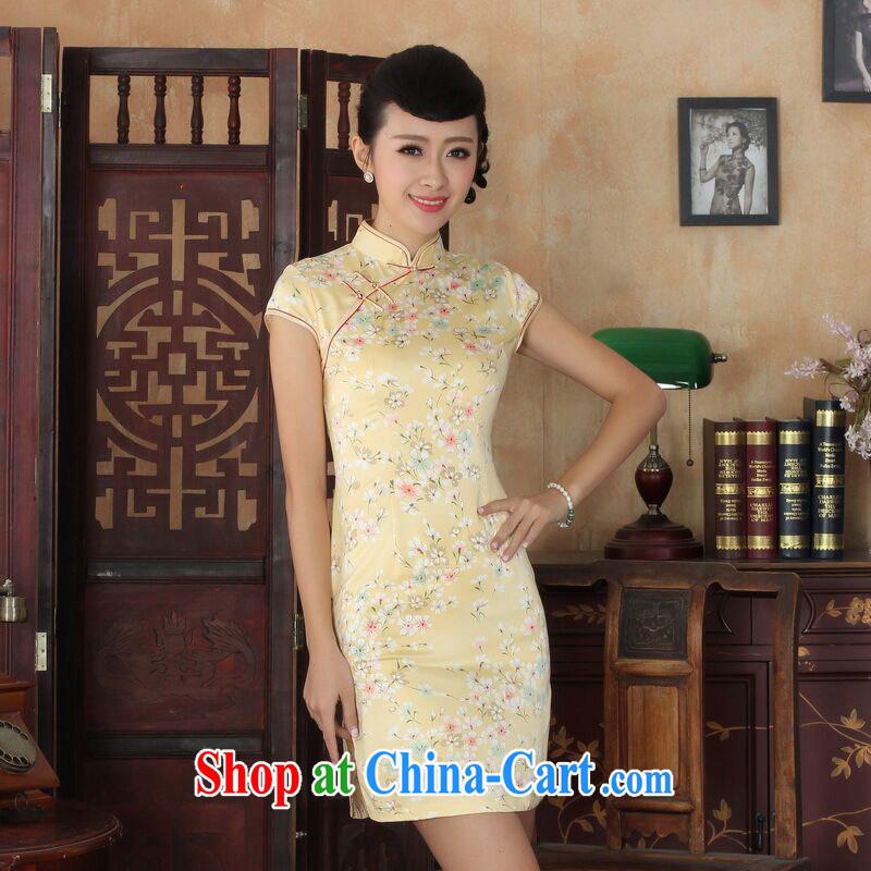 Allow Ms. Jing cheongsam Chinese dresses new summer elegance Chinese qipao Chinese graphics thin short cheongsam yellow 2XL