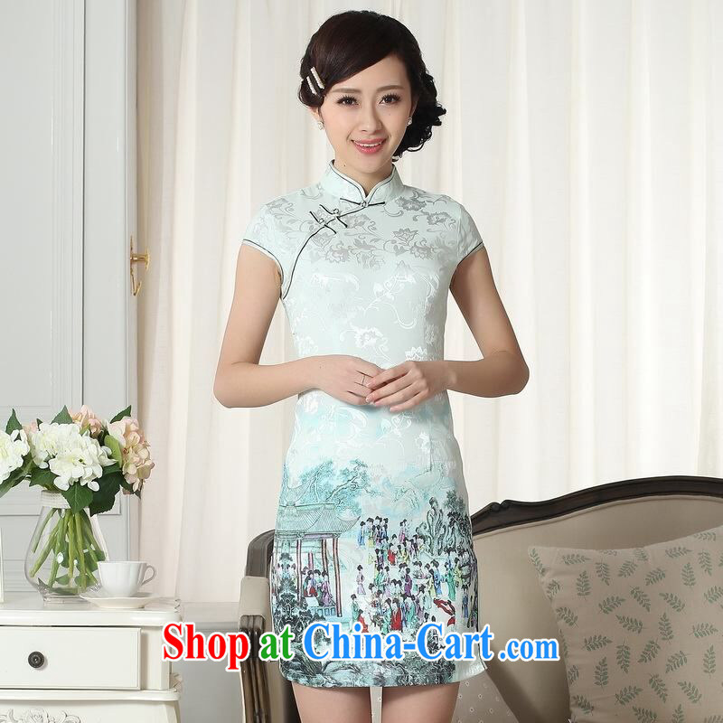 Allow Ms. Jing cheongsam Chinese dresses new summer elegance Chinese qipao Chinese graphics thin short cheongsam picture color 2 XL