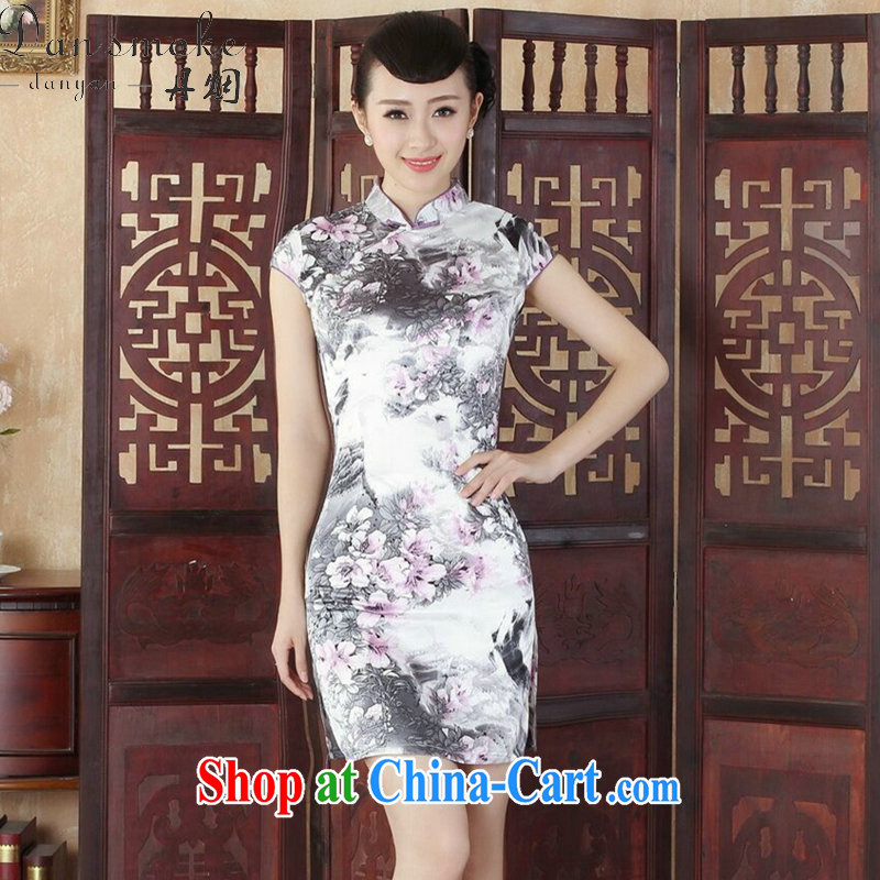 Bin Laden smoke summer new cheongsam Tang Women's clothes Chinese improved retro and satins for the flap stamp elegant short cheongsam as shown color 2 XL