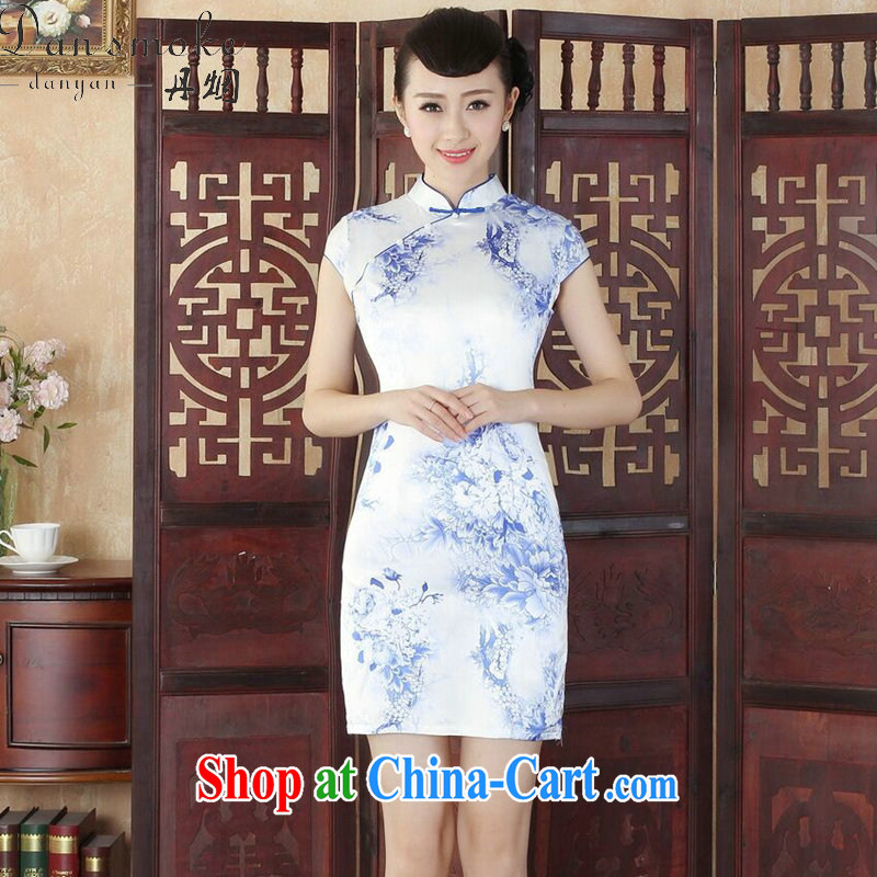 Bin Laden smoke dresses summer new, Tang Women's clothes Chinese improved, stamp duty for cheongsam dress is tight short dresses such as the color 2 XL