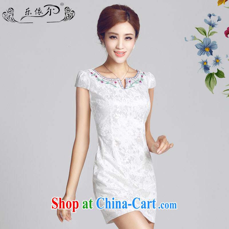 And, in accordance with antique lady dresses 2015 spring new embroidery flower cheongsam dress daily cultivating short cheongsam girls LYE 66,626 white XXL