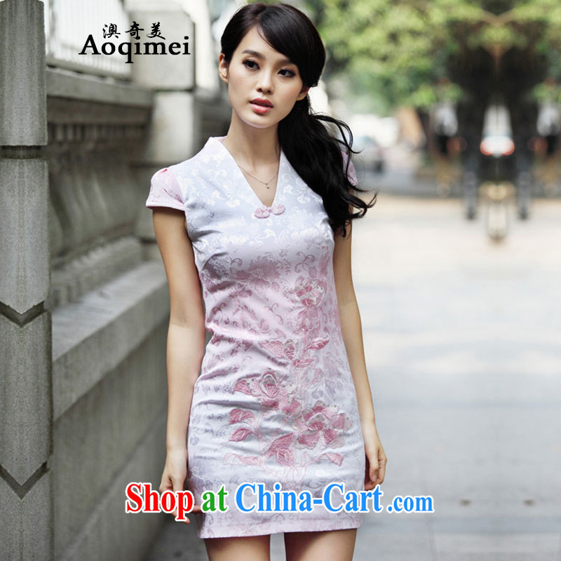 O, the 2015 spring and summer new daily elegant beauty 100 ground lace improved stylish 100 degree solid cheongsam dress short-sleeve sexy short A 6921 pink XL
