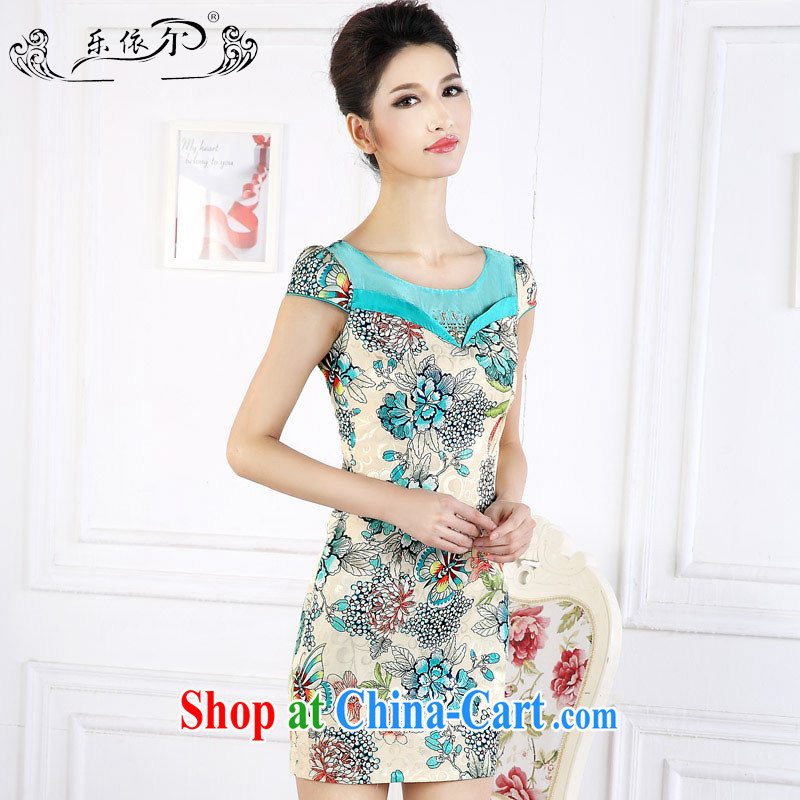 And, in accordance with female-retro Ethnic Wind stamp short cheongsam 2015 spring new short-sleeved girl cheongsam dress the drill LYE 66,627 green XXL