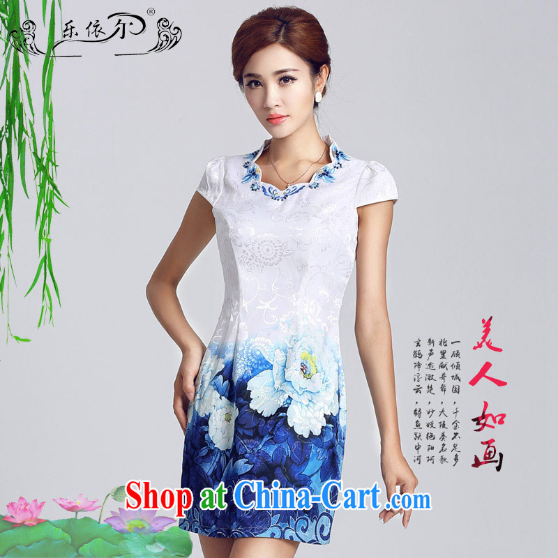 And, in accordance with classical stamp lady dresses retro embroidery flowers daily cultivating short dresses 2015 new female LYE 66,629 white XXL