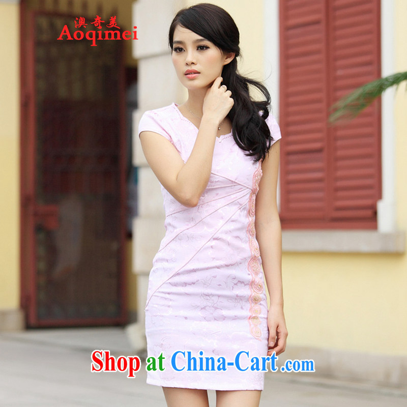 O, the 2015 spring and summer new stylish retro improved V short-sleeved Cultivating Female sexual sense ground 100 elegant short cheongsam A 6902 pink XL