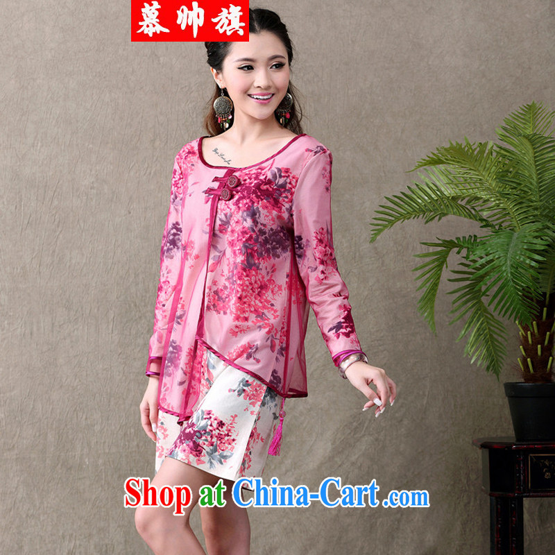 The handsome flag girls and new China winds, long-sleeved dresses original improved stylish dresses, served the Commission units 713 red XXL