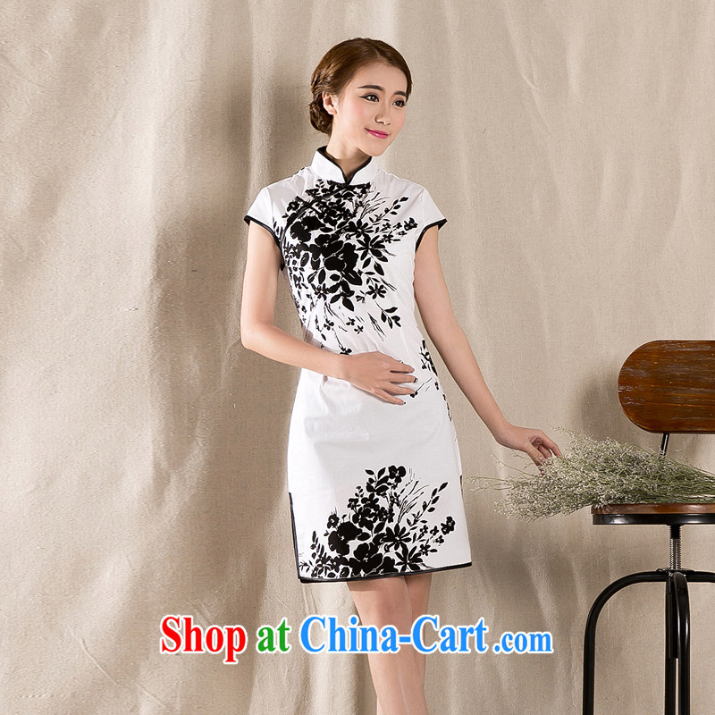 Cool self-2015 summer new stylish and refined antique cheongsam dress China wind stamp dresses white XL