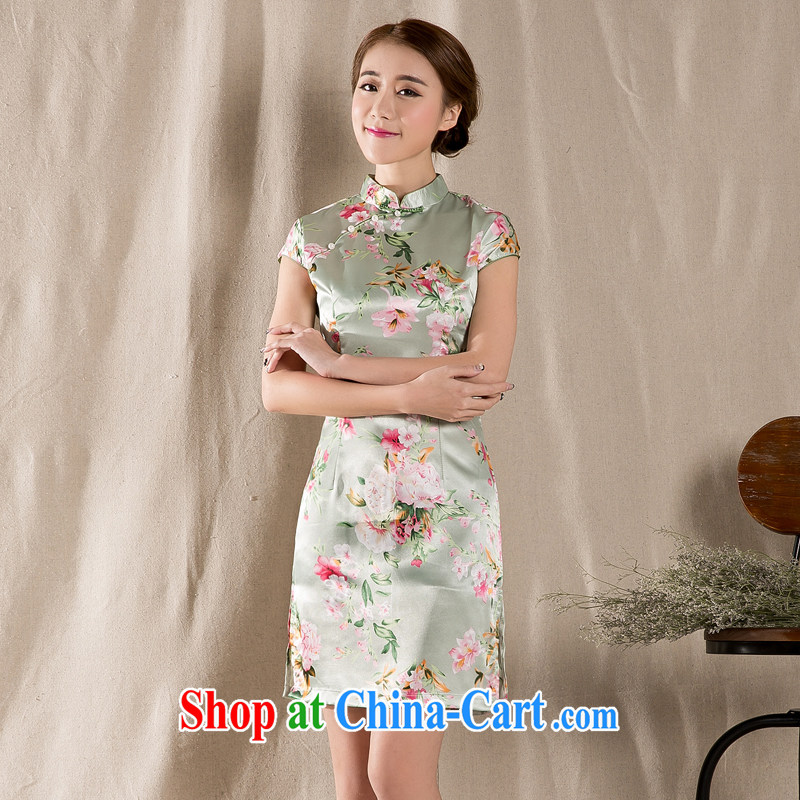 Cool self-summer 2015 new tray snap stamp arts ethnic wind improved retro cheongsam dress China wind wine red XL