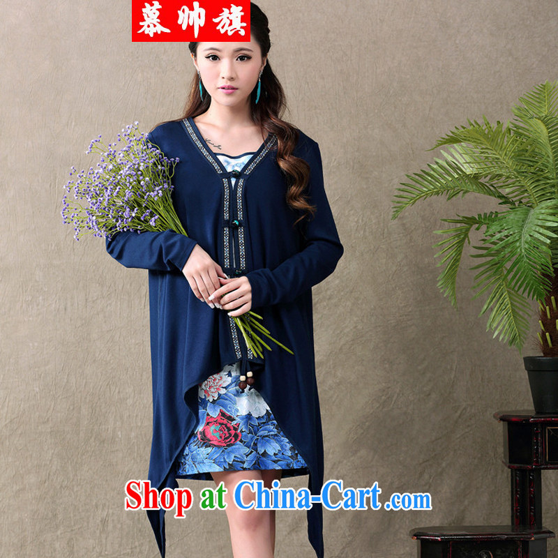 The handsome flag 2015 summer new ethnic wind antique dresses Web yarn stamp long-sleeved dress two-piece female 712 blue XXL