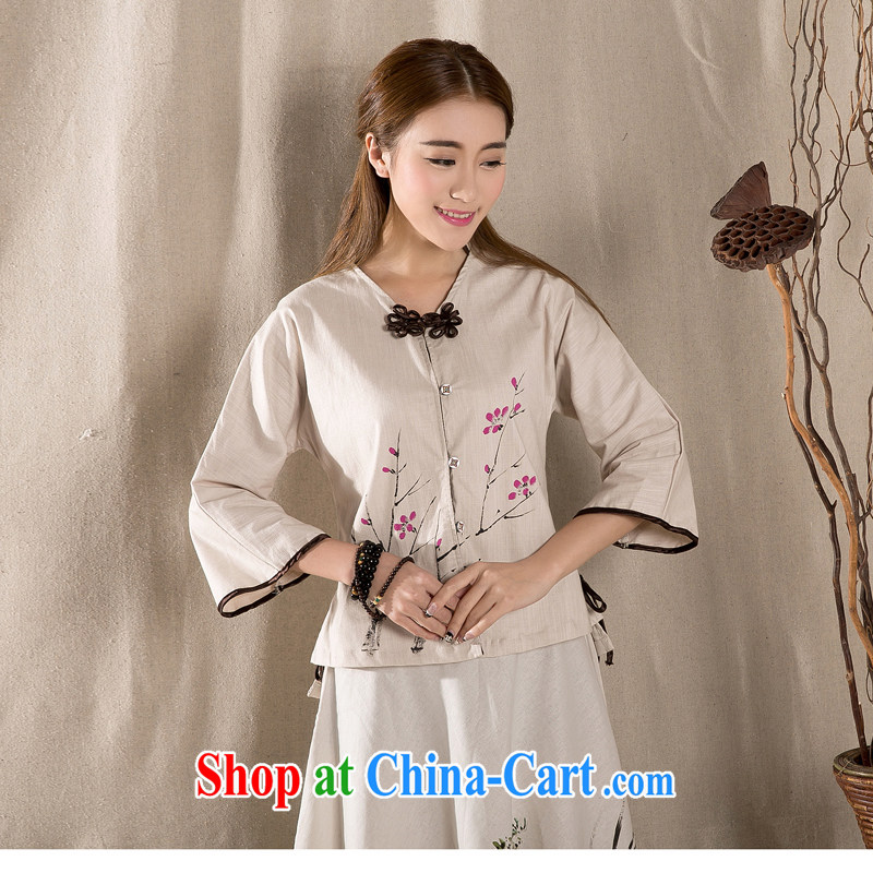 The red coat leading spring and summer cotton Ms. Yau Ma Tei improved the charge-back 7 sub-sleeved shirt retro style of female white XL