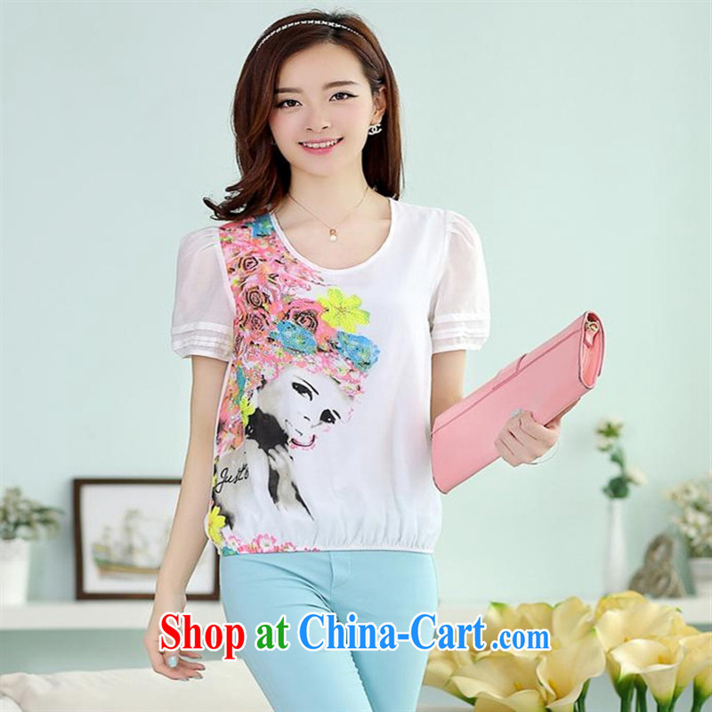Black butterfly store summer new Korean fashion female beauty framed stamp duty drilling round-collar short-sleeve T-shirt girl picture color XXL