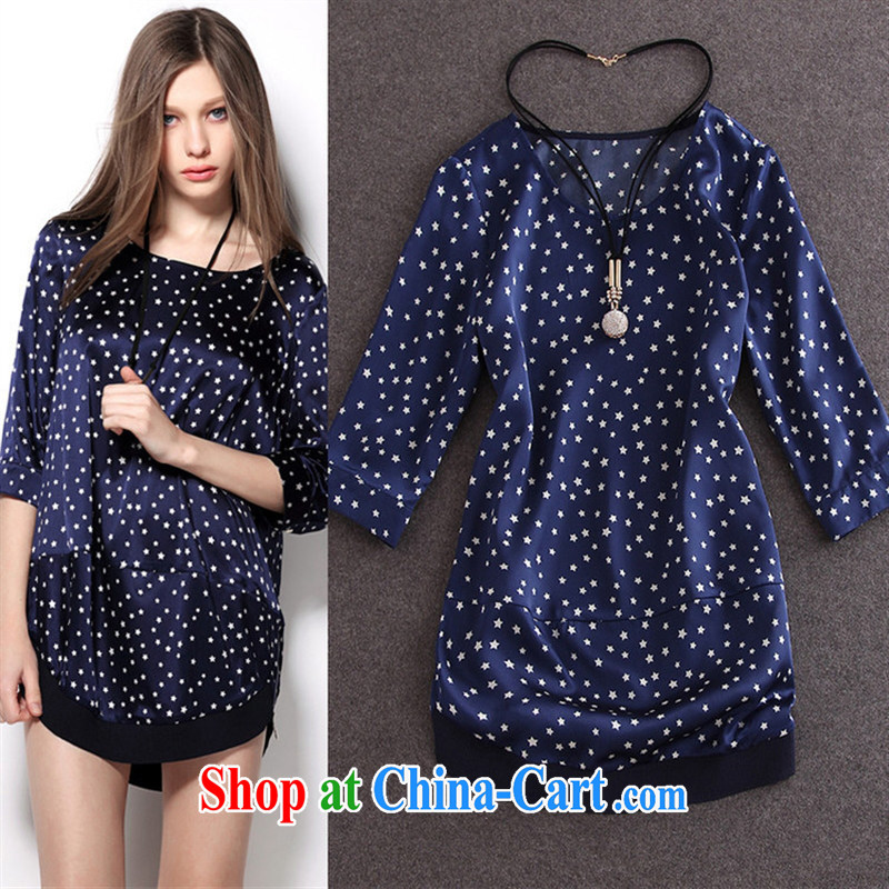hamilton 2015 spring and summer new European and American female 5 star stamp 7 cuff chicken heart in long loose shirt Map Color XL