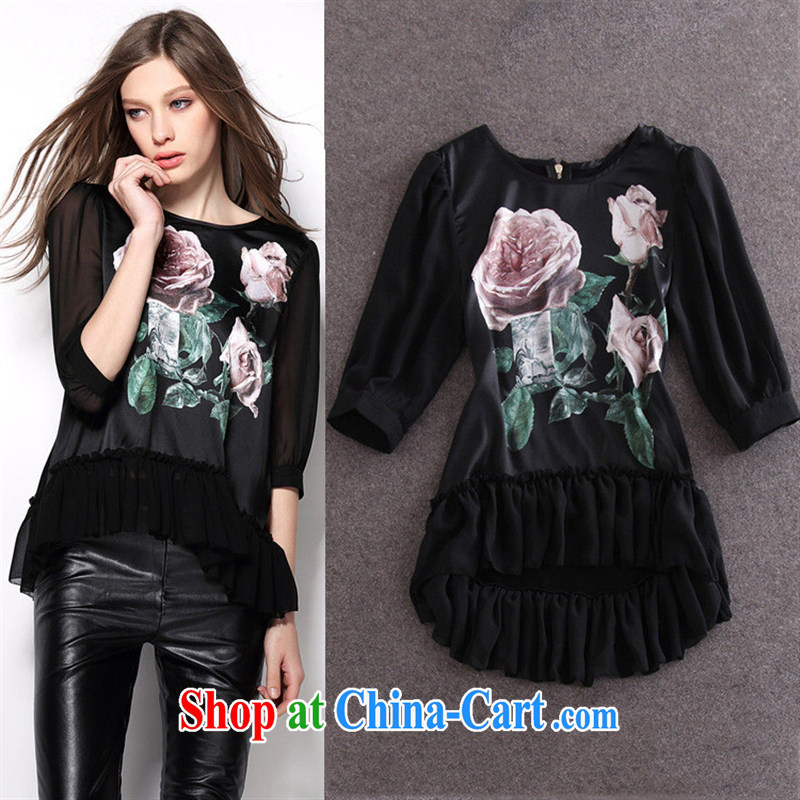 hamilton 2015 spring and summer new European boutique women's clothing, with the hem does not rule silk stamp T-shirt black L