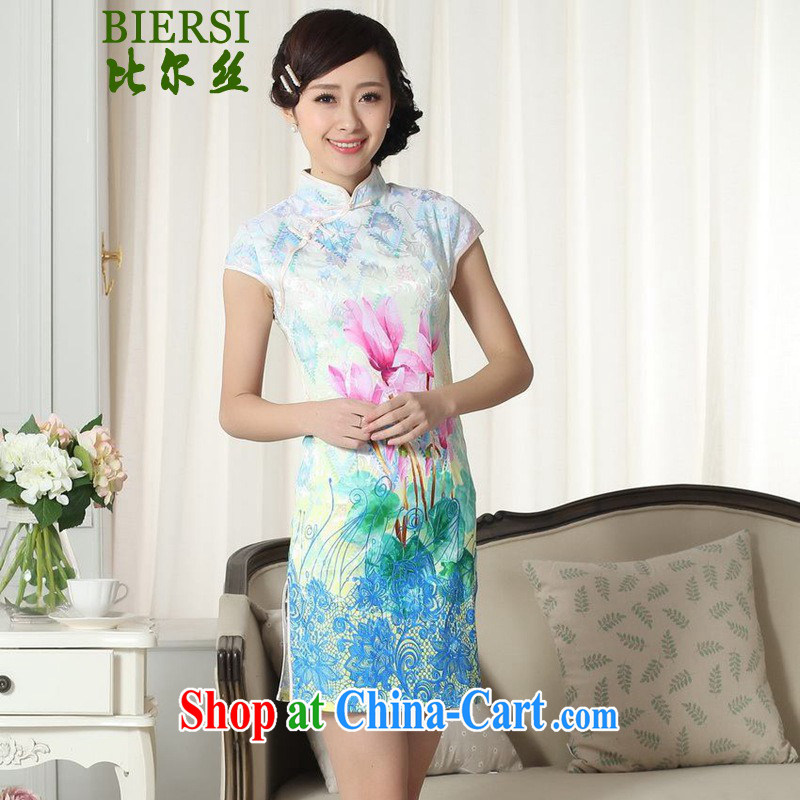 Carl Bildt, summer new Chinese improved Chinese qipao is hard Classic tray snaps Lotus cultivating cheongsam dress LGD/D #0283 figure 2 XL