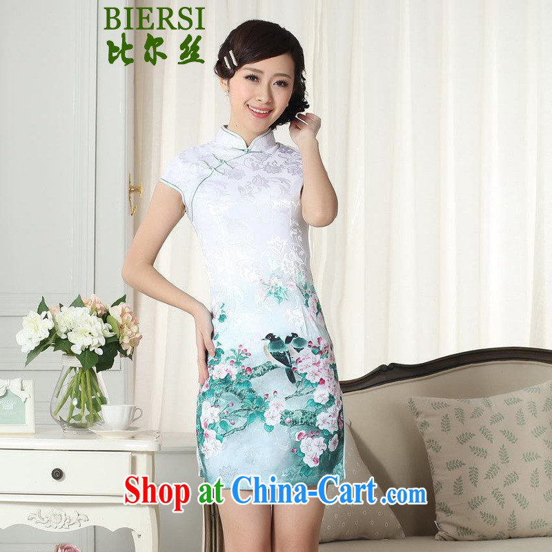 Carl Bildt, new Chinese improved cheongsam dress lady stylish jacquard cotton cultivating short cheongsam dress LGD/D #0284 figure 2 XL