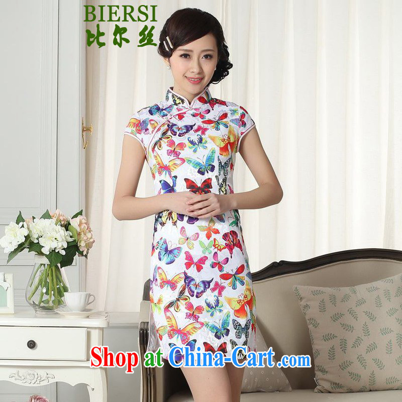 Bill's new Chinese improved Chinese qipao lady stylish butterfly jacquard cotton cultivating short cheongsam dress LGD/D #0285 figure 2 XL