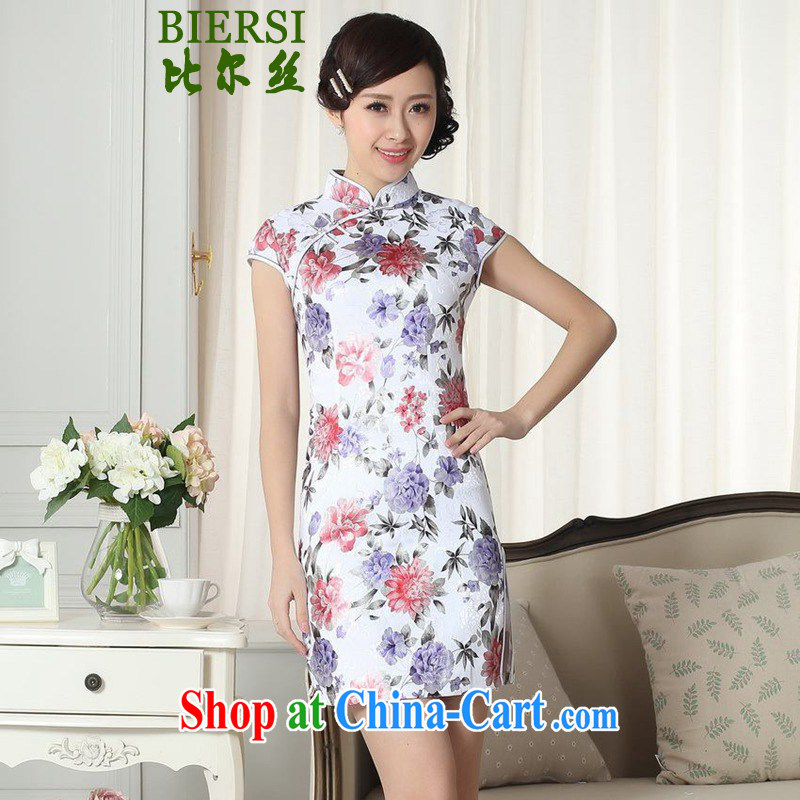 Bill's new Chinese qipao gown lady stylish jacquard flower cultivation short cheongsam dress LGD/D #0286 figure 2 XL