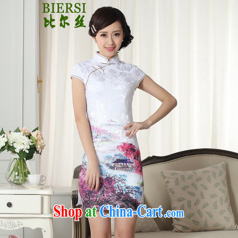 Carl Bildt, new Chinese qipao gown lady stylish jacquard cotton cultivating short-sleeve cheongsam dress LGD/D #0287 figure 2 XL