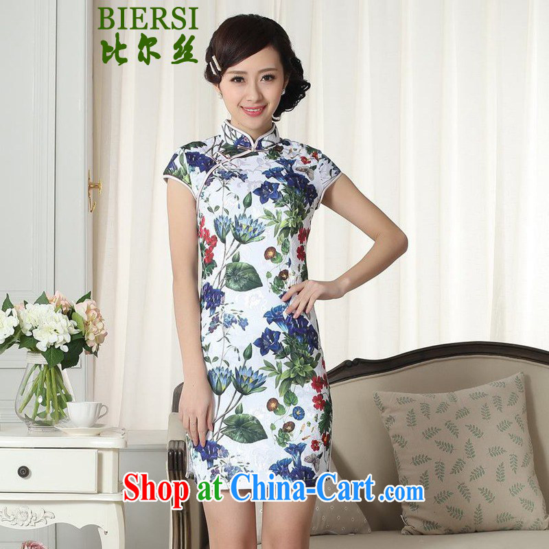 Carl Bildt, summer new Chinese qipao gown lady stylish jacquard cotton short-sleeved cultivating cheongsam dress LGD/D #0288 figure 2 XL