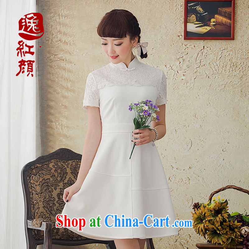 Once fatally jealous White Rose National wind women's clothing retro lace white short-sleeved dresses spring and summer new 2015 white M