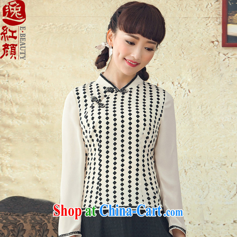 once and for all and fatally jealous Fang-Chinese long-sleeved spring Chinese Ethnic Wind female retro new stamp cheongsam shirt white XL April 13 ship date
