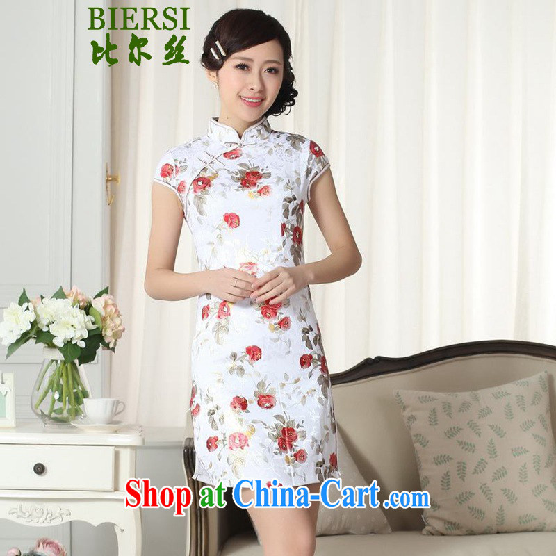 Carl Bildt, summer new Chinese qipao gown lady stylish jacquard cotton cultivating short cheongsam dress LGD/D #0289 figure 2 XL