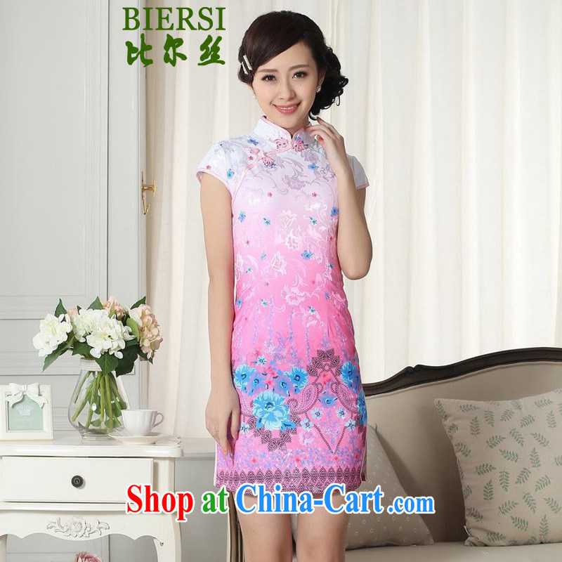 Carl Bildt, summer new Chinese qipao gown lady stylish jacquard cotton short-sleeved cultivating the maize cheongsam dress LGD/D #0290 figure 2 XL