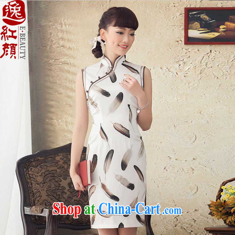 once and for all the proverbial hero Yu spring new stamp silk improved short cheongsam stylish retro cheongsam dress summer white 2 XL 5 months 2 days later