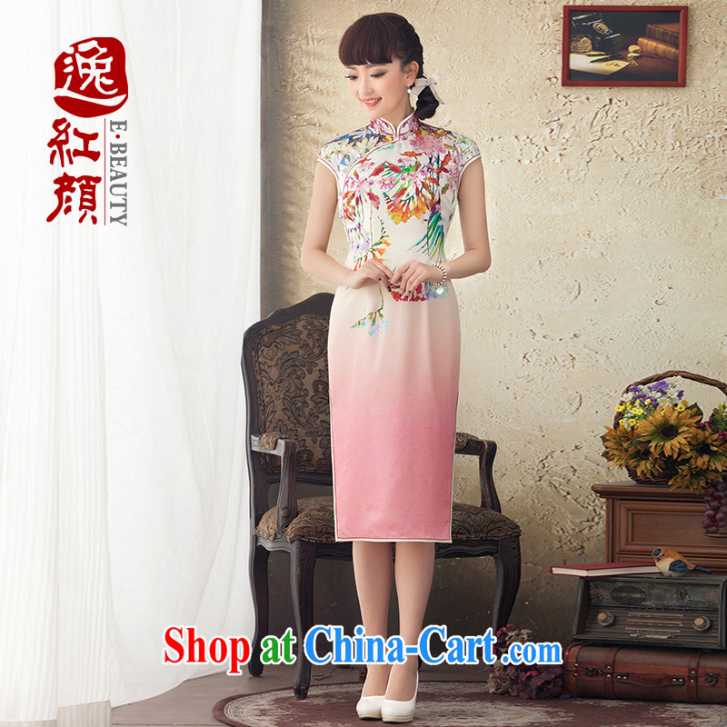 once and for all and fatally jealous Red window original 2015 spring and summer new, long, Silk Cheongsam floral skirt improved stylish dresses red 4 26 future library L