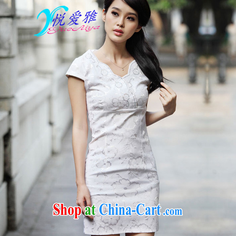 Yue love Ya 2015 summer new stylish embroidered Chinese daily retro dresses TOA 69,123 light apricot XL