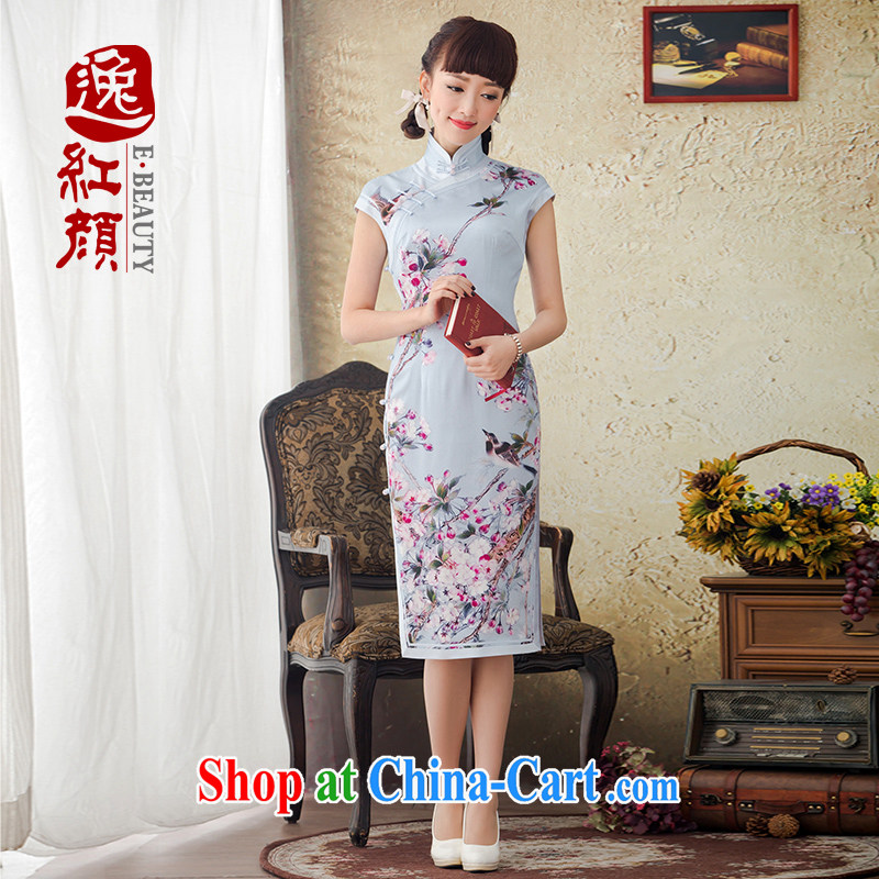 once and for all and take proverbial hero Zhang Qinsheng spring and summer with new, long, stamp duty is Silk Cheongsam improved retro-day cheongsam dress blue L