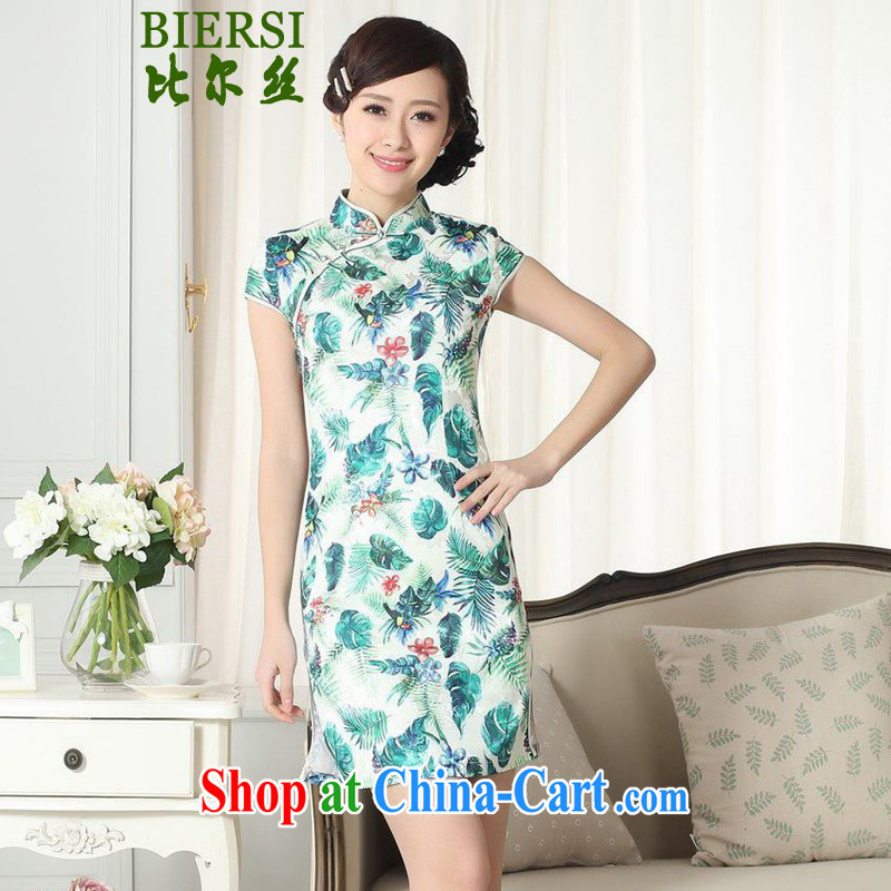 Carl Bildt, new lady fashion jacquard cotton cultivating short cheongsam dress Chinese cheongsam dress LGD/D #0271 figure 2 XL
