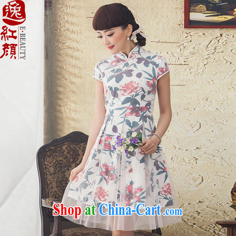 once and for all, fatally jealous Xin 2015 new spring and summer long, stamp duty cotton dress Ethnic Wind retro female white 2 XL