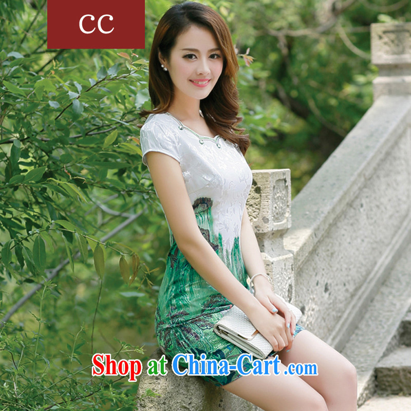 Appeals to appeal to 2015 new cheongsam dress Chinese dress uniform toast cultivating short sleeve cheongsam dress green XXL