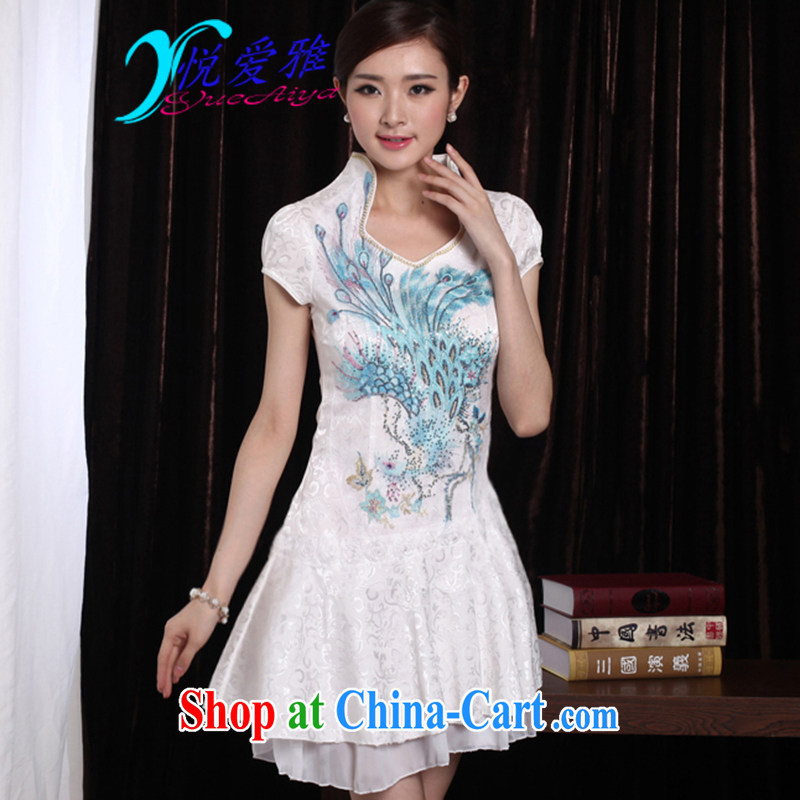 Yue love Ya 2015 sexy lace retro female Phoenix TV embroidery summer cheongsam dress DR 12,203 blue Phoenix XL