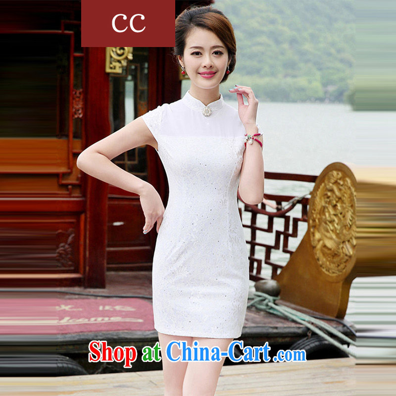 Appeals to appeal to 2015 new improved cheongsam wedding dresses wedding dresses bridal short bows stage dress cheongsam white XXL