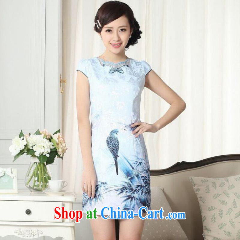 Shanghai optimization options lady stylish jacquard cotton cultivating short cheongsam dress new improved cheongsam dress picture color 2 XL