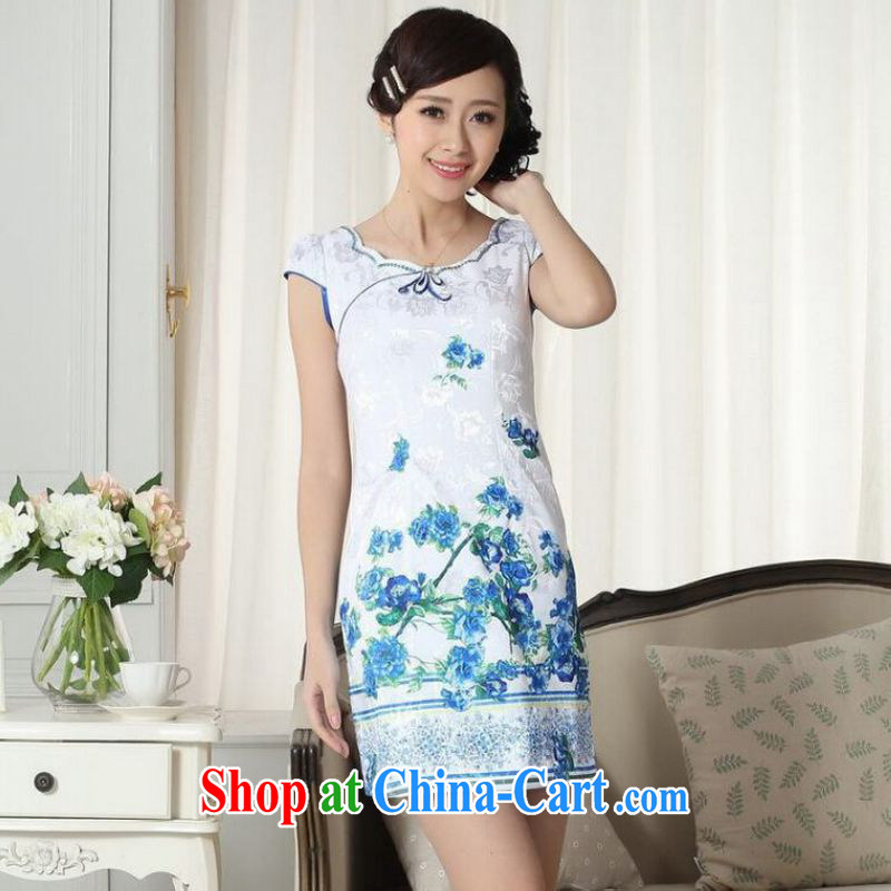 Shanghai optimization options lady stylish jacquard cotton cultivating short cheongsam dress new improved cheongsam dress white 2XL