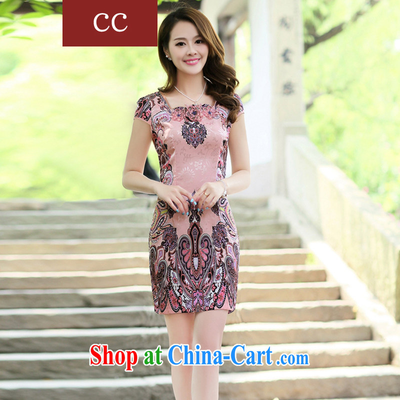 Appeals to appeal to 2015 spring and summer new dress cheongsam beauty improved modern day Ms. cheongsam dress dresses pink XXL